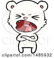 Clipart Of A Polar Bear Screaming Royalty Free Vector Illustration