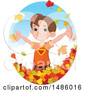 Clipart Of A Happy Boy Playing In Autumn Leaves Royalty Free Vector Illustration by Pushkin