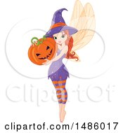 Red Haired Pixie Fairy Woman Holding A Halloween Jackolantern Pumpkin