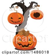 Clipart Of A Halloween Jackolantern Pumpkin Tree Royalty Free Vector Illustration