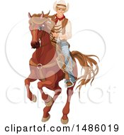 Clipart Of A Cowboy Pecos Bill Riding A Horse Royalty Free Vector Illustration by Pushkin