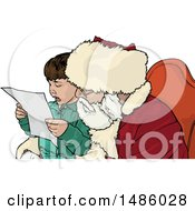 Clipart Of A Boy Sitting On Santas Lap Royalty Free Vector Illustration