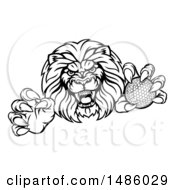 Tough Male Lion Mascot Holding A Golf Ball