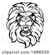 Clipart Of A Black And White Tough Male Lion Head Mascot Royalty Free Vector Illustration