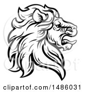 Black And White Tough Male Lion Head Mascot In Profile