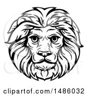 Clipart Of A Black And White Male Lion Head Mascot Royalty Free Vector Illustration