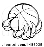 Clipart Of Black And White Monster Or Eagle Claws Holding A Basketball Royalty Free Vector Illustration