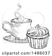 Poster, Art Print Of Black And White Sketched Cupcake And Tea Or Coffee