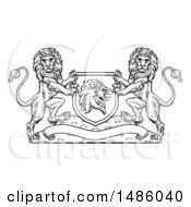 Clipart Of A Black And White Heraldic Lions Coat Of Arms Crest Royalty Free Vector Illustration