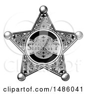 Black And White Vintage Etched Engraved Sheriff Star Badge
