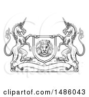 Clipart Of A Black And White Heraldic Lion And Unicorn Coat Of Arms Crest Royalty Free Vector Illustration by AtStockIllustration