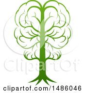 Clipart Of A Gradient Green Brain Tree Royalty Free Vector Illustration