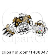 Clipart Of A Tough Bulldog Mascot Holding A Video Game Controller And Breaking Through A Wall Royalty Free Vector Illustration