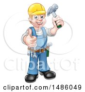 Full Length Happy Male Carpenter Holding A Hammer And Giving A Thumb Up