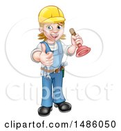 Clipart Of A Full Length Female Plumber Giving A Thumb Up And Holding A Plunger Royalty Free Vector Illustration