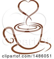 Brown Coffee Cup With A Steam Heart On A Saucer