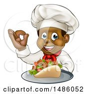 Clipart Of A Male Chef Holding A Souvlaki Kebab Sandwich On A Tray And Gesturing Perfect Royalty Free Vector Illustration by AtStockIllustration