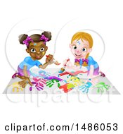 Clipart Of Girls Kneeling On Paper And And Painting Royalty Free Vector Illustration