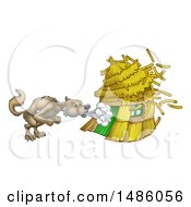 Clipart Of A Big Bad Wolf Blowing Down A Straw House Royalty Free Vector Illustration by AtStockIllustration