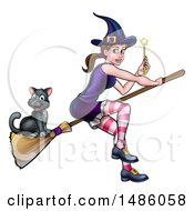 Clipart Of A Witch Holding A Magic Wand And Cat Flying On A Broomstick Royalty Free Vector Illustration by AtStockIllustration