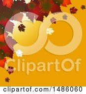 Autumn Square Background With Red Leaves On Yellow