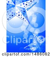 Christmas And New Years Blue Background With Decorative Stars