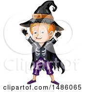 Clipart Of A Boy In A Skjeleton Wizard Halloween Costume Royalty Free Vector Illustration