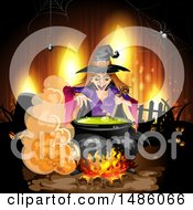 Clipart Of A Witch Making A Potion Royalty Free Vector Illustration by merlinul