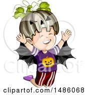 Clipart Of A Boy In A Jackolantern And Bat Halloween Costume Royalty Free Vector Illustration