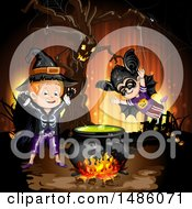 Clipart Of A Boiling Cauldron Ent Tree And Boys In Halloween Costumes Royalty Free Vector Illustration