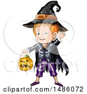Clipart Of A Boy In A Wizard Halloween Costume Royalty Free Vector Illustration by merlinul