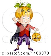 Clipart Of A Boy In A Jackolantern Halloween Costume Royalty Free Vector Illustration