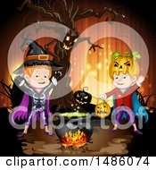 Clipart Of A Boiling Cauldron Ent Tree And Boys In Halloween Costumes Royalty Free Vector Illustration by merlinul