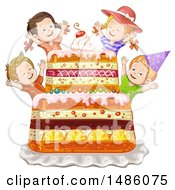 Group Of Kids And Giant Cake