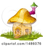 Clipart Of A Mushroom House Royalty Free Vector Illustration