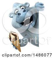 Poster, Art Print Of 3d White Monkey Yeti Holding An Ice Cream Cone On A White Background