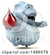 Clipart Of A 3d White Monkey Yeti Holding A Blood Drop On A White Background Royalty Free Illustration