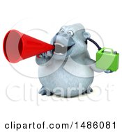 Poster, Art Print Of 3d White Monkey Yeti Holding A Gas Can On A White Background