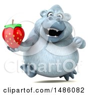 Poster, Art Print Of 3d White Monkey Yeti Holding A Strawberry On A White Background