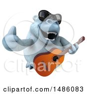 Poster, Art Print Of 3d White Monkey Yeti Holding A Guitar On A White Background