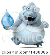 Poster, Art Print Of 3d White Monkey Yeti Holding A Water Drop On A White Background