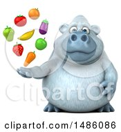 Clipart Of A 3d White Monkey Yeti Holding Produce On A White Background Royalty Free Illustration