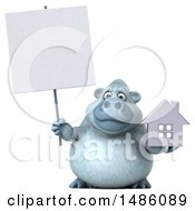 Poster, Art Print Of 3d White Monkey Yeti Holding A House On A White Background