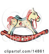 Childs Rocking Horse With Star Decorations Retro Clipart Illustration by Andy Nortnik
