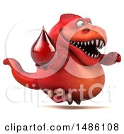 Clipart Of A 3d Red Tommy Tyrannosaurus Rex Dinosaur Mascot Holding A Blood Drop On A White Background Royalty Free Illustration