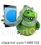 3d Green Tommy Tyrannosaurus Rex Dinosaur Mascot Holding A Smart Phone On A White Background