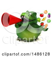 Clipart Of A 3d Green Tommy Tyrannosaurus Rex Dinosaur Mascot Holding Produce On A White Background Royalty Free Illustration
