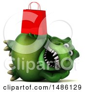 3d Green Tommy Tyrannosaurus Rex Dinosaur Mascot Holding A Shopping Bag On A White Background