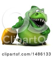 3d Green Tommy Tyrannosaurus Rex Dinosaur Mascot With A Suitcase On A White Background