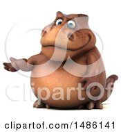 Clipart Of A 3d Brown Tommy Tyrannosaurus Rex Dinosaur Mascot Presenting On A White Background Royalty Free Illustration